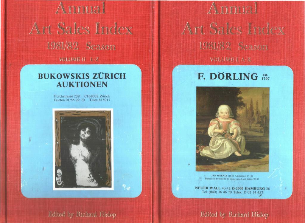 Annual Art Sales Index 1987/88 Season 2 Voll. Volume I A-K Volume II L-Z