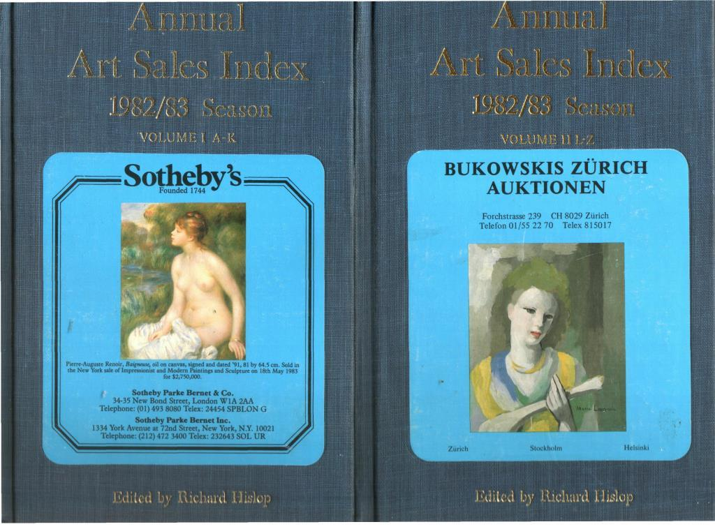 Annual Art Sales Index 1988/89 Season 2 Voll. Volume I A-K Volume II L-Z